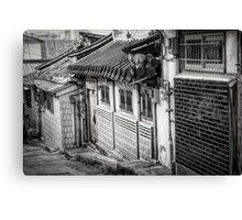 South Korean Hanok Street BW Canvas Print