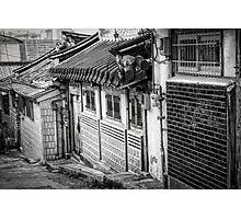 South Korean Hanok Street BW Photographic Print