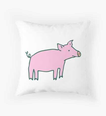 Simple Pig - pink and white Throw Pillow