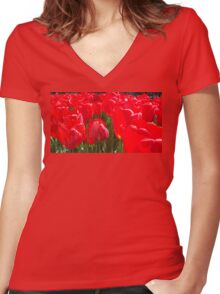 Belgium Tulips in Red Two Women's Fitted V-Neck T-Shirt