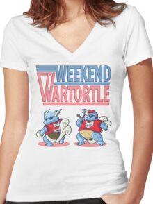 Weekend Wartortle (Pokemon) Women's Fitted V-Neck T-Shirt