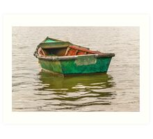 Lonely Old Fishing Boat at Santa Lucia River in Montevideo, Uruguay Art Print