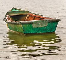 Lonely Old Fishing Boat at Santa Lucia River in Montevideo, Uruguay by DFLC Prints