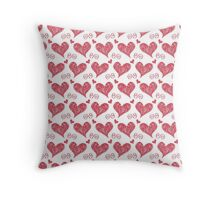 Hearts and Swirls Pattern Throw Pillow
