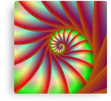 Staircase Spiral in Orange Blue and Green Canvas Print