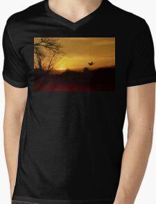 Red River Sunset Mens V-Neck T-Shirt