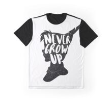 PETER PAN | NEVER GROW UP | FIRST STAR ON THE RIGHT | TINKER BELL | CAPTAIN HOOK | CROCODILE | CLOCK TOWER | QUOTE | TYPOGRAPHY Graphic T-Shirt