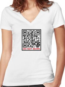 """Rick Roll Your Friends!   QR code that links to Rick Astley's """"Never Gonna Give You Up"""" YouTube music video Women's Fitted V-Neck T-Shirt"""