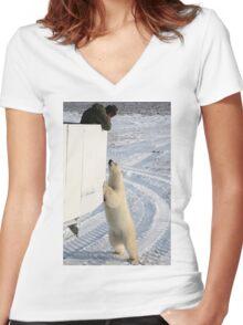 A Curious Polar Bear Women's Fitted V-Neck T-Shirt