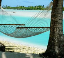 Empty hammock between two tropical palm trees in Cook Islands. Sticker