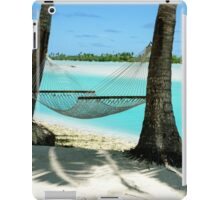 Empty hammock between two tropical palm trees in Cook Islands. iPad Case/Skin