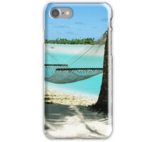 Empty hammock between two tropical palm trees in Cook Islands. iPhone Case/Skin
