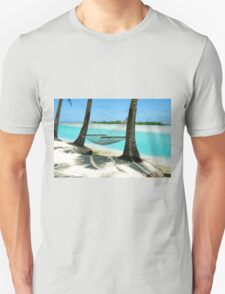 Empty hammock between two tropical palm trees in Cook Islands. T-Shirt