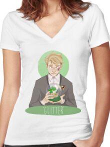 """""""Glitter"""" Women's Fitted V-Neck T-Shirt"""