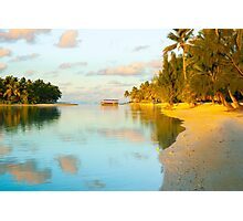 Golden tropical scene at sunset. Photographic Print