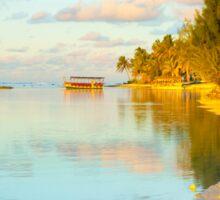 Golden tropical scene at sunset. Sticker