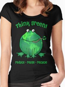 Think Green Frog Environment T-Shirt Women's Fitted Scoop T-Shirt