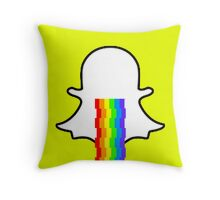 Snapchat ghost barfing rainbows Throw Pillow