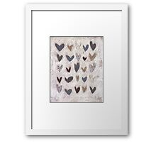 25 rustic hearts Framed Print