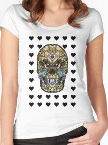 Love Hearts Skull 1 Death Goth Dark Green Halloween Dead Day Women's Fitted Scoop T-Shirt