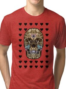 Love Hearts Skull 1 Death Goth Dark Green Halloween Dead Day Tri-blend T-Shirt