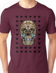 Love Hearts Skull 1 Death Goth Dark Green Halloween Dead Day Unisex T-Shirt