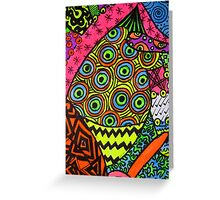 Abstract Fluoro 2 portrait View  Greeting Card