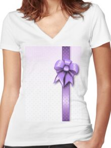 Lilac Present Bow Women's Fitted V-Neck T-Shirt
