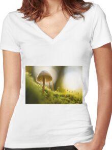 Forest Mushroom Fine Art Photography 0008 Women's Fitted V-Neck T-Shirt