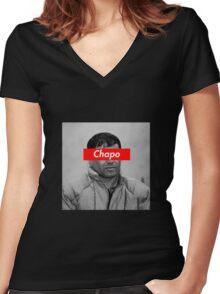 EL CHAPO x SUPREME BOX LOGO Women's Fitted V-Neck T-Shirt