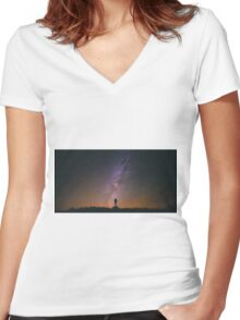 Night Sky Nature Fine Art Photography 0011 Women's Fitted V-Neck T-Shirt