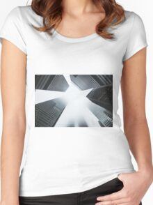 City Skyscrapers Foggy Nature Fine Art Photography 0013 Women's Fitted Scoop T-Shirt