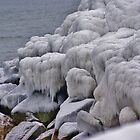 Iced Rocks at the shore line   Old orchard beach Maine by jeanlphotos