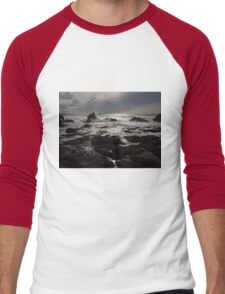 Sunset Dark Beach Stones Nature Fine Art Photography 0016 Men's Baseball ¾ T-Shirt