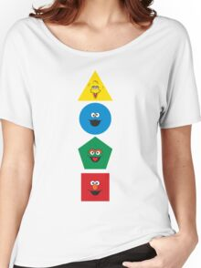 Sesame Street Primary Colors Basic Shapes Women's Relaxed Fit T-Shirt