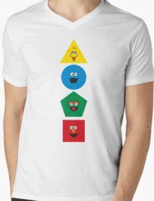 Sesame Street Primary Colors Basic Shapes Mens V-Neck T-Shirt