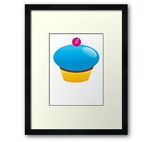 Single blue cupcake sweet Framed Print