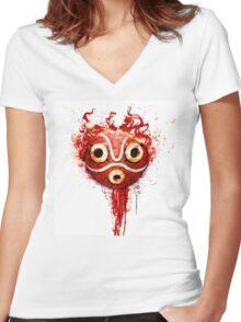 princess mononoke mask Women's Fitted V-Neck T-Shirt