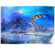 Fantasy Landscape with Dragons Poster