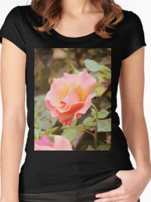 Beautiful apricot rose Women's Fitted Scoop T-Shirt