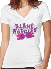 Blame the Nargles Women's Fitted V-Neck T-Shirt