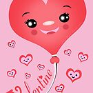 Valentine's Day Kawaii Heart T-Shirt by Jamie Wogan Edwards