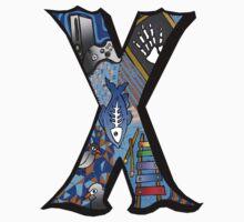 Doodle Letter X One Piece - Short Sleeve