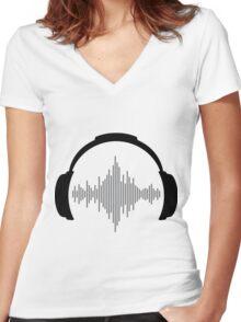 DJ Headphones Women's Fitted V-Neck T-Shirt