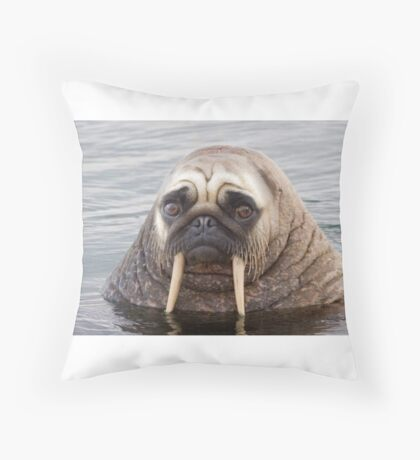Walrus pug Throw Pillow