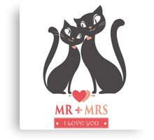 Couple of black  cats in love Canvas Print