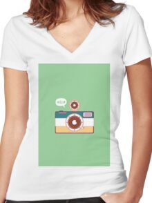 say hello to camera Women's Fitted V-Neck T-Shirt