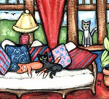 Cats Lounging In The Sunroom Art by Jamie Wogan Edwards