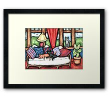 Cats Lounging In The Sunroom Art Framed Print