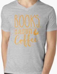 Books, Bacon and coffee Mens V-Neck T-Shirt
